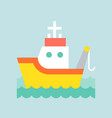 fishing tug boat in sea waves icon flat design vector image vector image