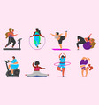 fitness girls plus size health sport in club set vector image vector image