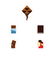 flat icon chocolate set of wrapper shaped box vector image vector image