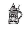german stein beer mug with decorations in form vector image vector image