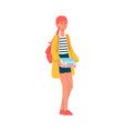 girl student character clutching a file flat vector image vector image