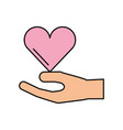 Hand holding heart donation charity healthy vector image