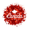 happy canada day hand drawn lettering maple vector image