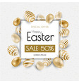 happy easter lettering background with realistic vector image vector image