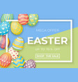 happy easter template with white frame and eggs vector image