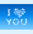 heart shaped cloud in blue sky vector image