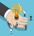 Isometric illuminated light bulb in businessman ha vector image