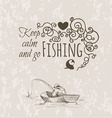 keep fishing sketch calm vector image vector image