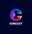 logo circuit gradient colorful style vector image vector image
