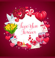 love you forever valentine day wish hearts vector image