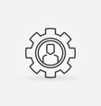man in gear thin line icon outsourcing vector image vector image