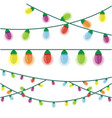 multicolored christmas lights on a white vector image