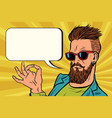 ok okay gesture hipster vector image vector image