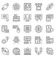 online banking outline icons set internet vector image