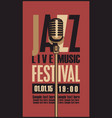 poster for a jazz festival live music with mic vector image vector image