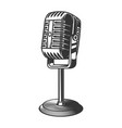 retro style microphone design element for logo vector image vector image