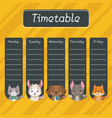 school timetable with cute animals vector image vector image