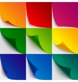 Set of 9 colorful paper curled corners and page vector image vector image