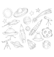 Space objects sketch set vector image