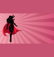 superheroine flying ray light silhouette vector image vector image