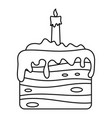 sweet cake icon outline style vector image vector image