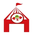 tent circus clown isolated icon vector image vector image