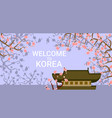 traditional korea temple or palace over blooming vector image