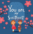valentine day card with typography text you are my vector image vector image