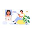 virtual conversation online date couple lovers vector image