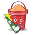 with beer bucket character cartoon style vector image vector image