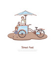 woman in apron selling sweet dessert vector image