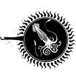 woodcut frying squid vector image vector image