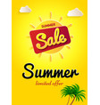 yellow banner summer sale limited offer big sun vector image vector image