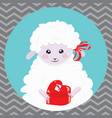cartoon portrait of a white sheep with a christmas vector image