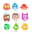 little cute bird chicks set of cartoon characters vector image