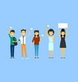 group of asian people holding white template flags vector image