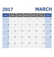 2017 March calendar week starts on Sunday vector image vector image
