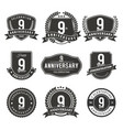 9 year anniversary badge and labels vector image