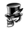 a skull in cylindrical hat vector image vector image