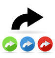 arrow icon colored set of right turn arrow signs vector image vector image
