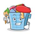 artist laundry basket character cartoon vector image vector image