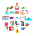 big city icons set cartoon style vector image