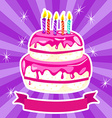 Birthday cake in pink vector image vector image