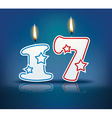 Birthday candle number 17 vector image vector image