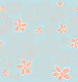 blue and peach floral seamless pattern design vector image
