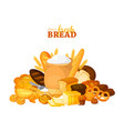 bread banner for bakery and pastry shop template vector image