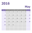 Calendar May 2016 week starts from Sunday vector image vector image