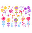 cartoon flower stickers cute butterflies bugs and vector image