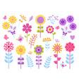 cartoon flower stickers cute butterflies bugs vector image