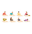 collection of young boys and girls sitting vector image vector image